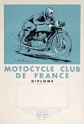 Geo Ham - Vintage 1935 Moto Club de France Diplome Litho Drawing Print For Sale - Artwork